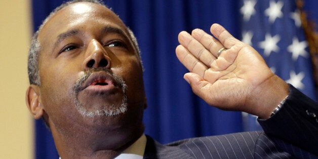 Republican presidential candidate Ben Carson speaks to reporters during a news conference before the...