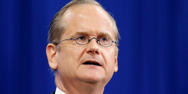 Democratic presidential candidate, Professor of Law at the Harvard Law School, Lawrence Lessig speaks...