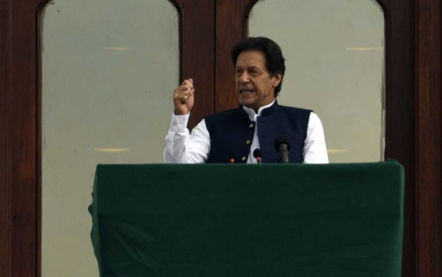Pakistan prime minister Imran Khan addresses the crowd during a rally in Islamabad on August