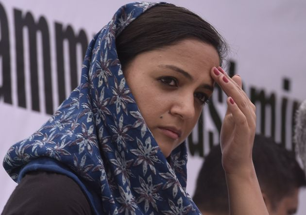 Shehla Rashid during an all party protest against the revocation of Jammu and Kashmir's special constitutional...