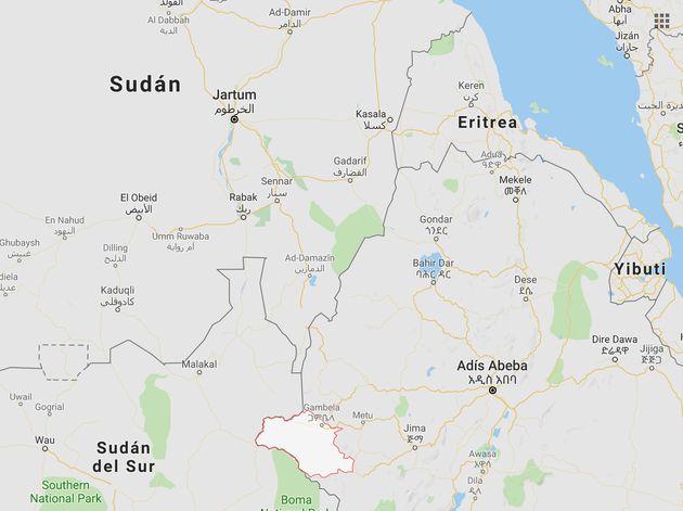 Mapa de situación del lugar donde han sido asesinados los cooperantes de