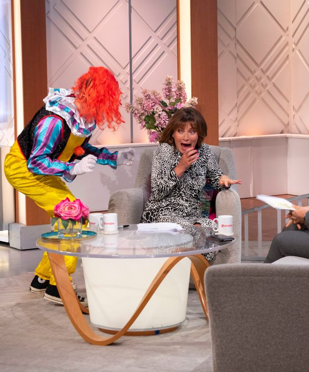 Lorraine Kelly Almost Screams Her Studio Down After Being Scared By A Clown In Live Prank