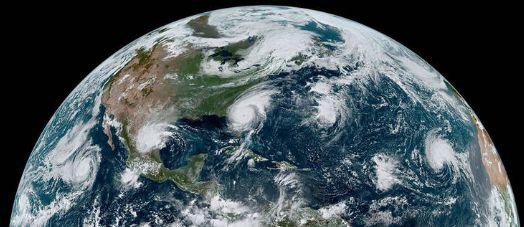 (De gauche à droite) l'ouragan Juliette, la tempête tropicale Fernand, l'ouragan Dorian...