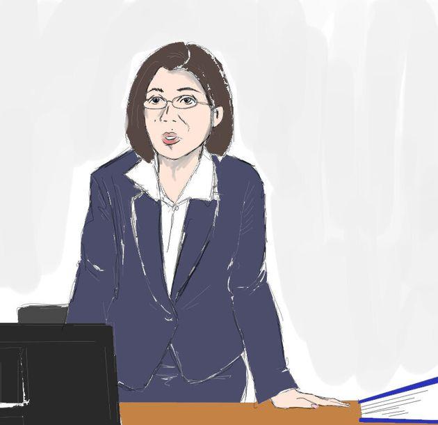 船戸優里被告に虐待の経過について質問する検事=2019年9月6日、東京地裁