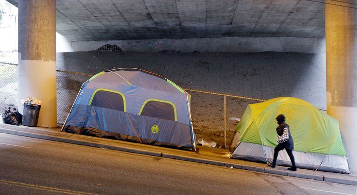 Tents under a highway near downtown Seattle, March 2017. Homelessness in the city has increased amid America's worsening hous