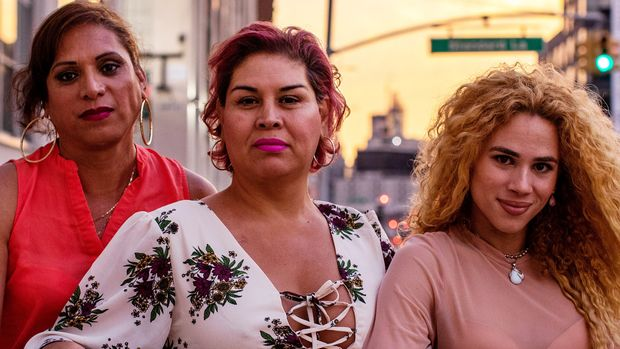 QUEENS, NY. - September 5, 2019:  Joselyn Mendoza, Lesly Herrera, and Jonahi Orti Rosa at the LGBT Network in Queens, New York. CREDIT:  Demetrius Freeman for The Huffington Post