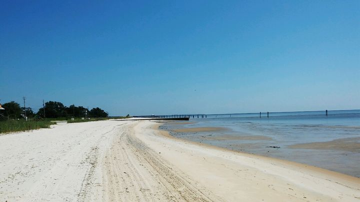 An empty beach in Waveland, Mississippi, on Sept. 6, 2019.
