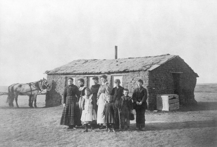 """In frontier towns, residents often built schoolhouses out of whatever they could find. Students might find themselves learning in log cabins or abandoned buildings, according to the PBS documentary """"Frontier House, Frontier Life."""""""