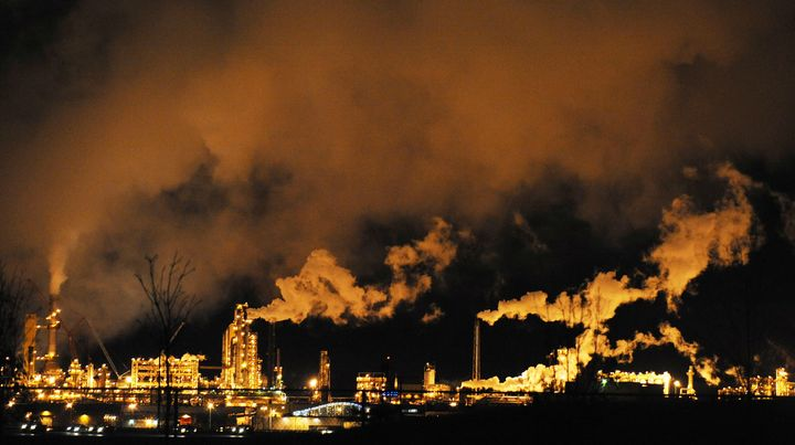 A nighttime view of the Syncrude oil sands extraction facility near Fort McMurray, Alta., Oct. 22, 2009.