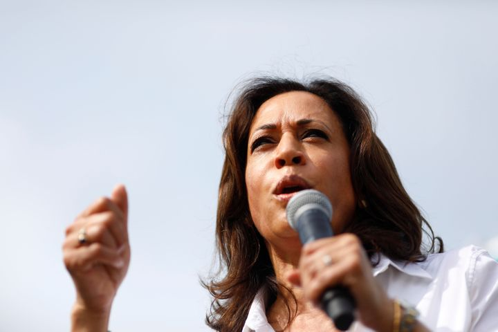 Sen. Kamala Harris (D-Calif.), a 2020 Democratic presidential candidate, speaks at the Iowa State Fair in Des Moines last mon