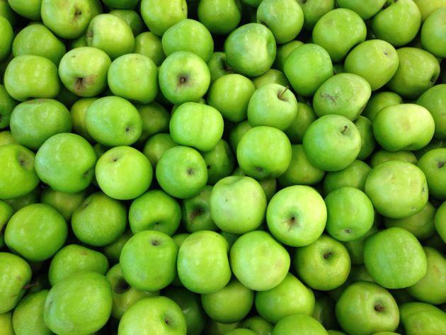 Full Frame Shot Of Granny Smith Apples For Sale At