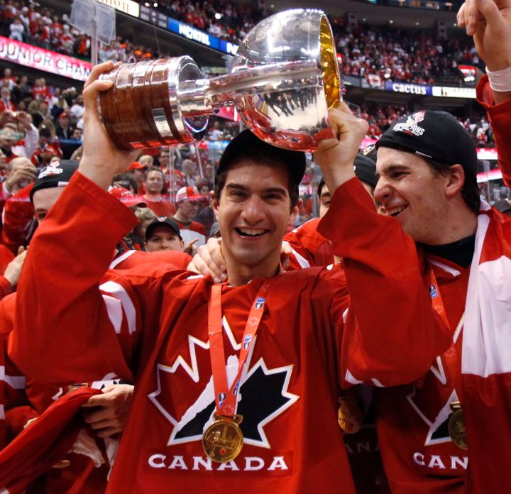 Angelo Esposito celebrates with teammate John Tavares after winning the gold medal final against Team Sweden at the World Junior Hockey Championship n Ottawa on Jan. 5, 2009.