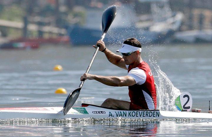 Adam Van Koeverden competes in the men's kayak single 1000m heat during the 2016 Summer Olympics in Rio de Janeiro, Brazil on Aug. 15, 2016.