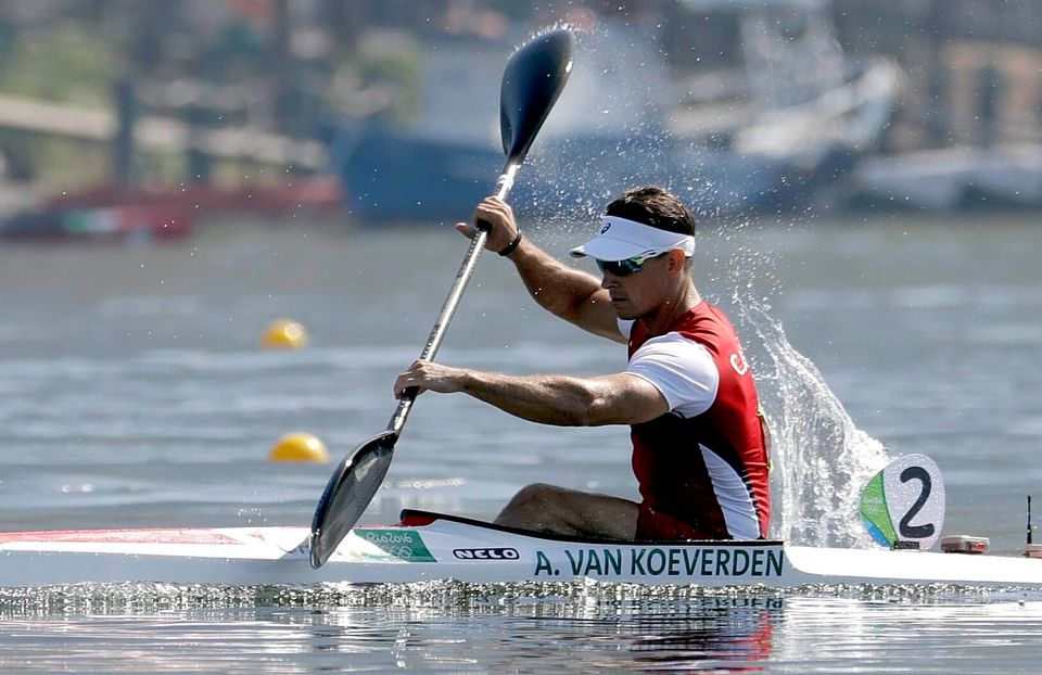 Adam Van Koeverden competes in the men's kayak single 1000m heat during the 2016 Summer Olympics in Rio...
