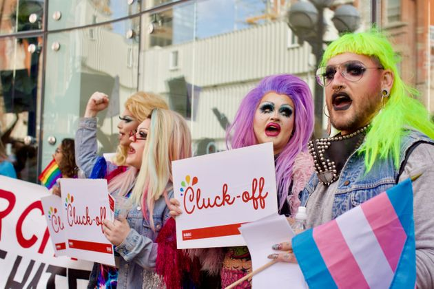 Members of the LGBTQ community came out to protest a new Chick-Fil-A location in Toronto Sept. 6,