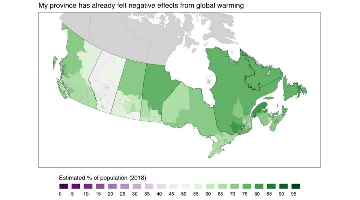 "This map shows the estimated percentage of adults in each of Canada's ridings who agree with the statement ""My province has already felt negative effects from global warming."""