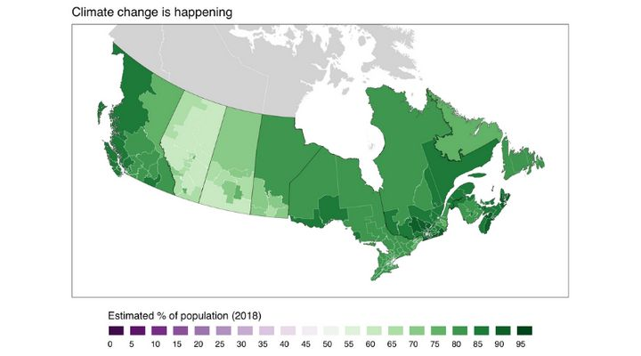 This map shows the estimated percentage of adults in each of Canada's ridings who agree that climate change is happening.