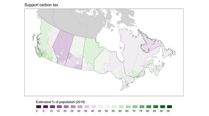 This map shows the estimated percentage of adults in each of Canada's ridings who support a carbon tax.
