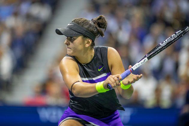 Bianca Andreescu in action against Belinda Bencic of Switzerland in the U.S. Open women's singles semi-finals...