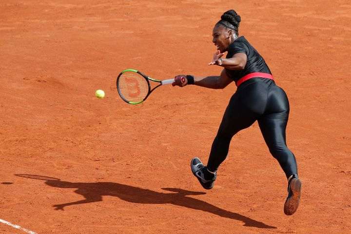 Serena Williams of the U.S. returns a shot against Krystyna Pliskova of the Czech Republic during their first round match of the 2018 French Open.
