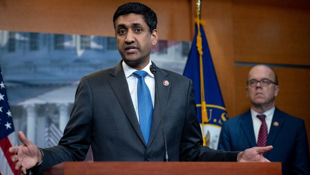 US Representative Ro Khanna (L), Democrat of California, and US Representative Jim McGovern (R), Democrat of Massachusetts, speak during a press conference following a vote in the US House on ending US military involvement in the war in Yemen, on Capitol Hill in Washington, DC, April 4, 2019. (Photo by SAUL LOEB / AFP)        (Photo credit should read SAUL LOEB/AFP/Getty Images)