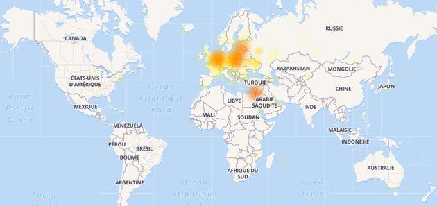 La carte des pannes Wikipédia dans le
