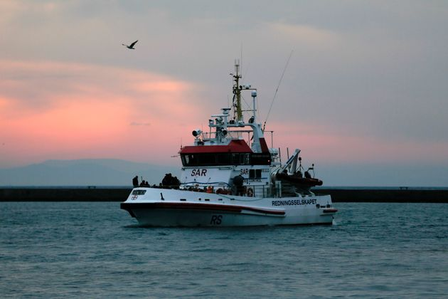 A Frontex patrol vessel carrying refugees and migrants rescued at open sea arrives at the port of Mytilene...
