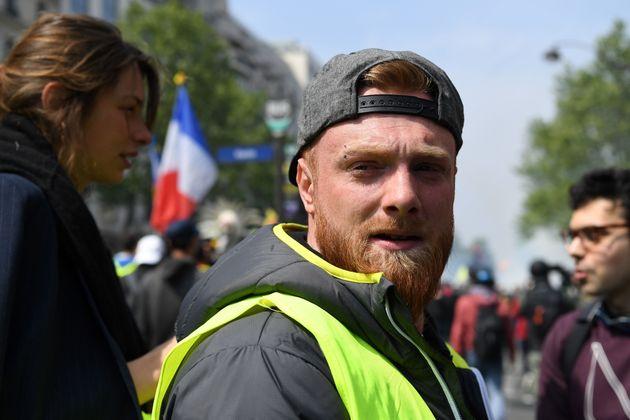 Maxime Nicolle ici lors d'une manifestation des gilets jaunes à Paris le 1er mai