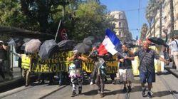 Des gilets jaunes adoptent les parapluies des manifestants