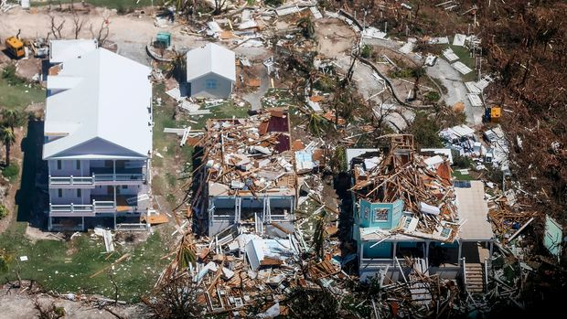 An aerial view of floods and damages from Hurricane Dorian on Freeport, Grand Bahama on September 5, 2019. (Photo by Adam DelGiudice / AFP)        (Photo credit should read ADAM DELGIUDICE/AFP/Getty Images)