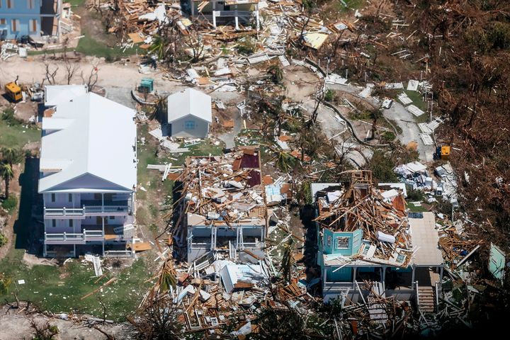 An aerial view of damage from Hurricane Dorian on Freeport, Grand Bahama, on Sept. 5.