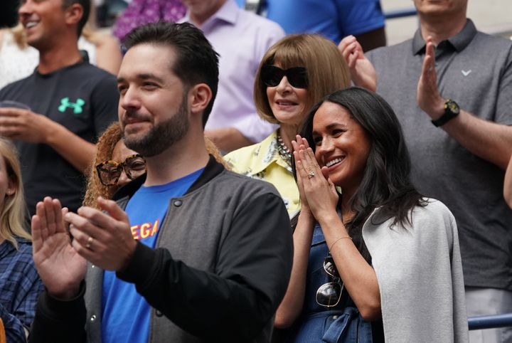 Meghan Markle, Duchess of Sussex cheers for Serena Williams along with William's husband Alexis Ohanian and Vogue Editor-in-Chief Anna Wintour at the 2019 US in New York on Sept. 7, 2019.