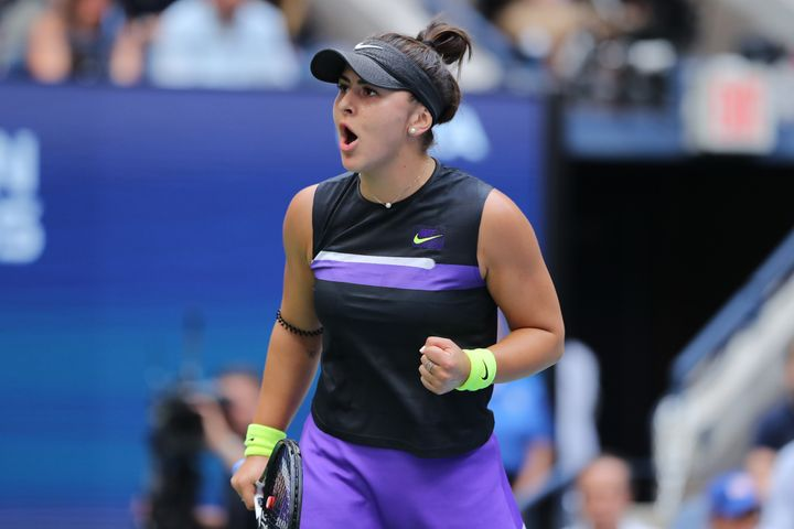 Bianca Andreescu of Canada reacts during her Women's Singles final match against against Serena Williams Sept. 7, 2019