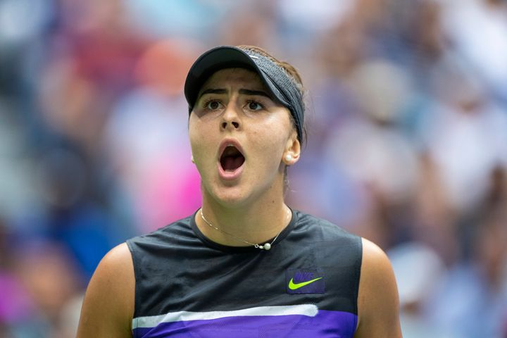Bianca Andreescu reacts after winning her match against Serena Williams during the US Open on Sept. 7, 2019.