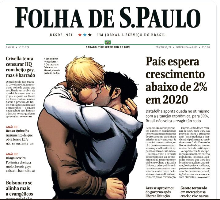 Marvel's gay kiss is featured on cover of Folha de Sao Paulo Saturday.