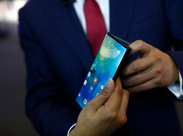 Huawei Mate X foldable 5G smartphone during the Mobile World Congress wireless show, in Barcelona,...