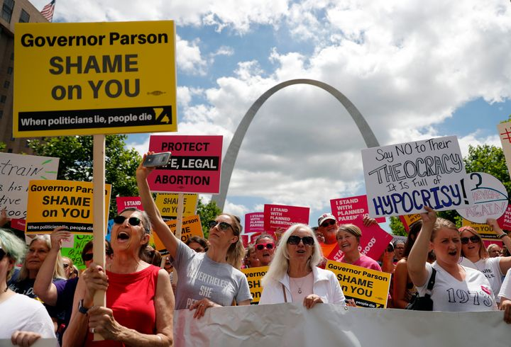 Abortion-rights supporters take part in a protest on May 30, 2019, in St. Louis, Missouri.