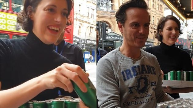 Phoebe Waller-Bridge And Andrew Scott Surprise Queuing Fleabag Fans With Cans Of G&T