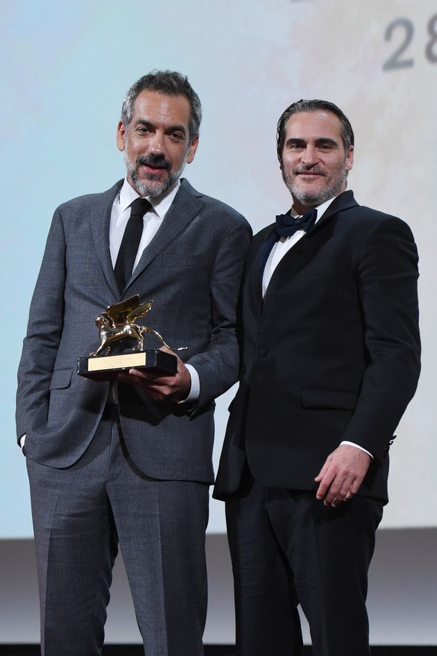 VENICE, ITALY - SEPTEMBER 07: Todd Phillips and Joaquin Phoenix receive the Golden Lion for Best Film...