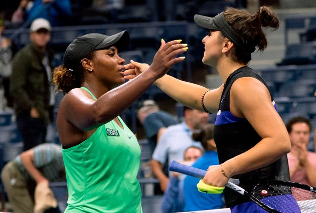 Andreescu with American player Taylor Townsend on Sept.