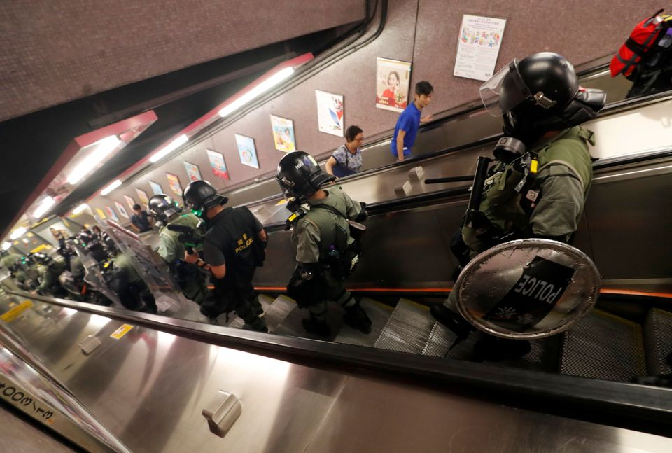 Riot police are seen in Causeway Bay station in Hong Kong, China September 8, 2019. REUTERS/Amr Abdallah