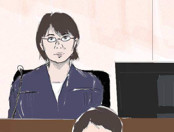 船戸優里被告に質問をする右陪審の女性裁判官=2019年9月6日、東京地裁