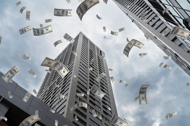 US Paper Currency, Flying, Finance, Skyscraper,