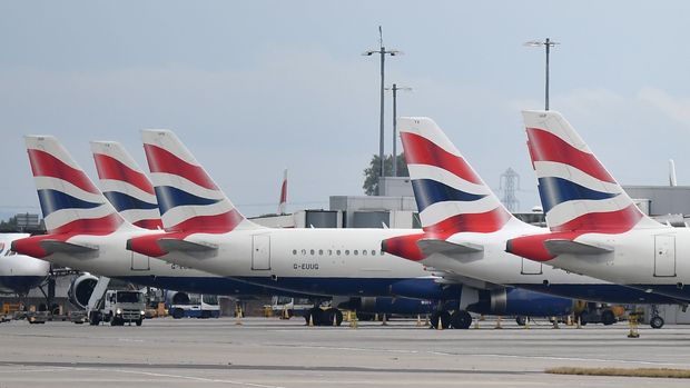 Grounded British Airways planes sit on the tarmac at Heathrow airport Terminal 5 in west London on September 9, 2019. - British Airways on Monday cancelled almost all flights departing and arriving into the UK, as the airline's first-ever pilots' strike began, sparking travel chaos for tens of thousands of passengers. (Photo by Ben STANSALL / AFP)        (Photo credit should read BEN STANSALL/AFP/Getty Images)