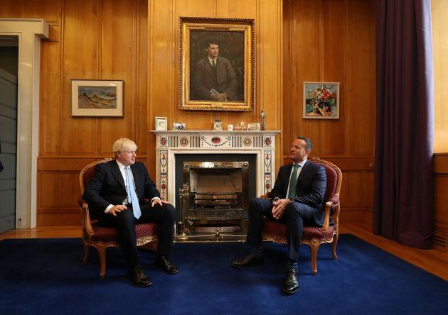 British Prime Minister Boris Johnson meets with Irish Taoiseach Leo Varadkar in Government Buildings during his visit to Dublin, Ireland September 9, 2019. Niall Carson/Pool via REUTERS