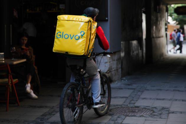 A Glovo courier is seen in Lviv, Ukraine on 17 July 2019. (Photo by Jakub Porzycki/NurPhoto via Getty