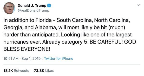 In a Sept. 1 tweet, Donald Trump falsely claimed Alabama could expect to be hit hard by Hurricane Dorian.