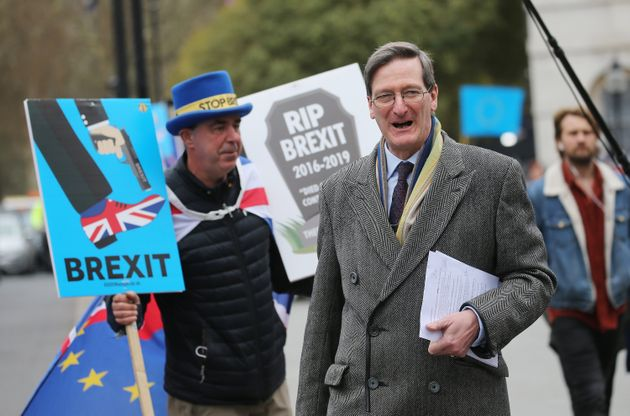 Former attorney general Dominic Grieve is confronted by an anti-Brexit