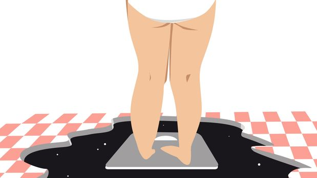 Depressed woman weighs herself on a bathroom scale, standing over an abyss, EPS 8 vector illustration