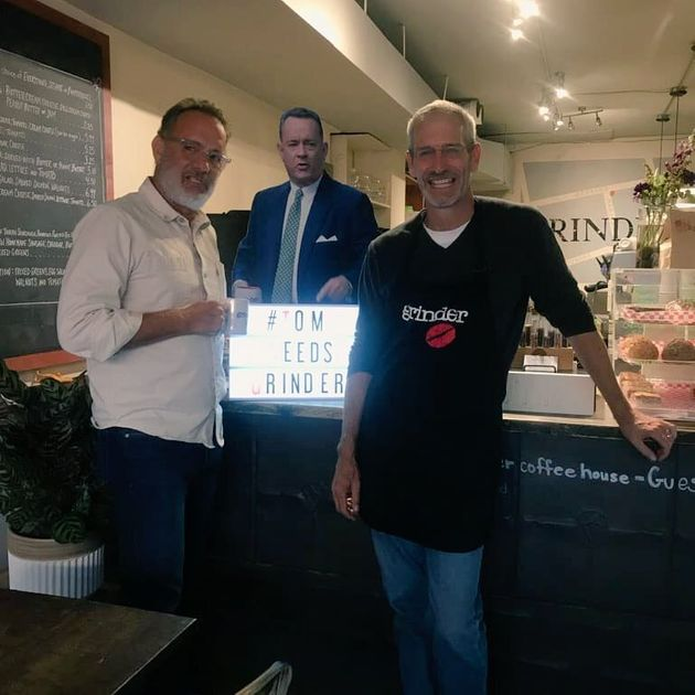 Tom Hanks with employee Tony Graham at Toronto's Grinder